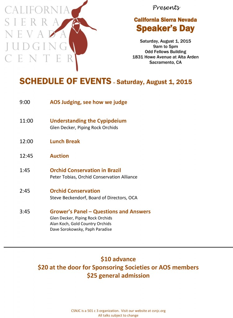 CSNJC SCHEDULE OF EVENTS 2015