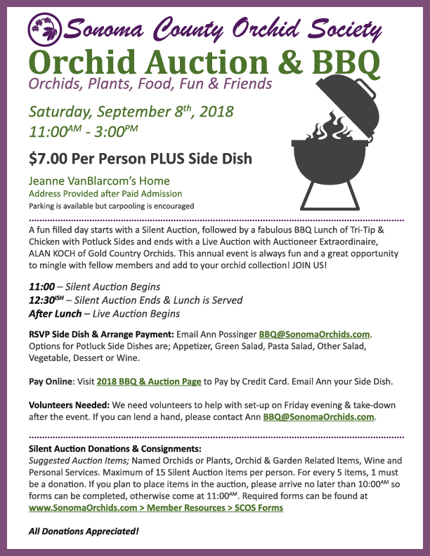 2018 Orchid Auction & BBQ