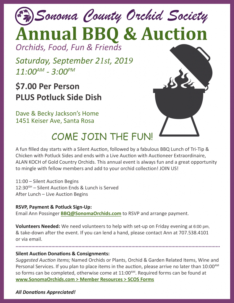2019 Orchid Auction & BBQ
